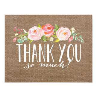 Rose Banner Burlap | Baby Shower Thank You Card
