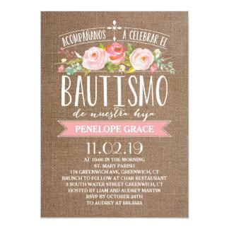 Rose Banner Burlap | Spanish Bautismo 13 Cm X 18 Cm Invitation Card