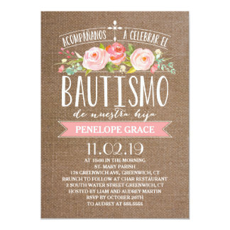 Rose Banner Burlap | Spanish Bautismo Card