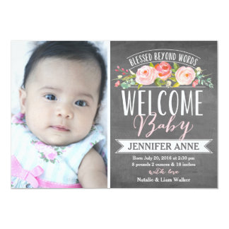 Rose Banner Chalkboard | Birth Announcement