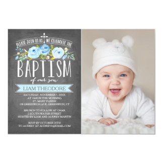 Rose Banner Chalkboard Blue Baptism Invitation