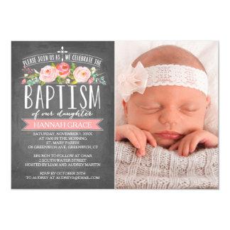 Rose Banner Chalkboard Pink Baptism Invitation