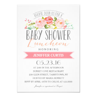 Rose Banner Luncheon | Baby Shower 13 Cm X 18 Cm Invitation Card