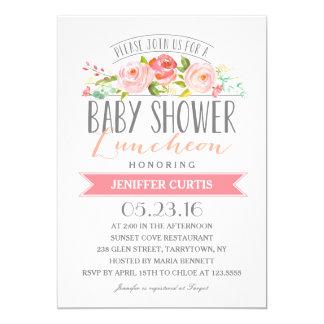 Rose Banner Luncheon | Baby Shower 13 Cm X 18 Cm Invitation Card