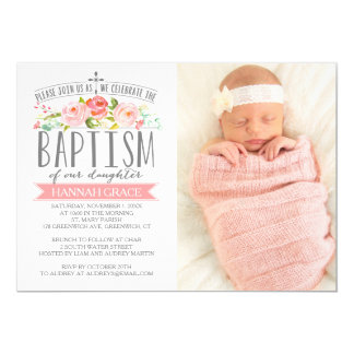 Rose Banner Pink Baptism Invitation