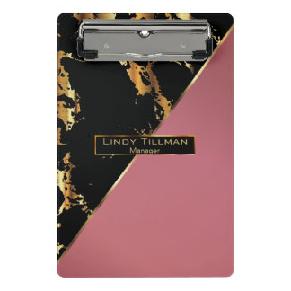 Rose, Black and Gold Marble Design Mini Clipboard