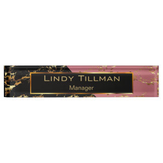 Rose, Black and Gold Marble Design Nameplate