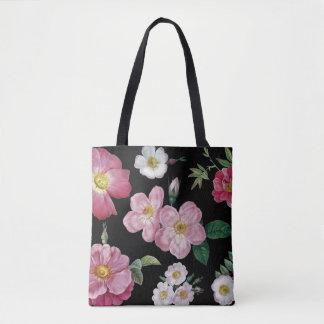 Rose black tote bag