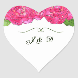 Rose Bloom Envelope Seal Heart Sticker