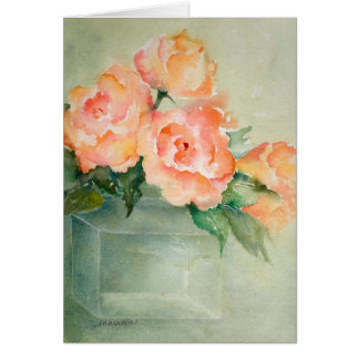 Rose Blooms in Green Vase Greeting Card