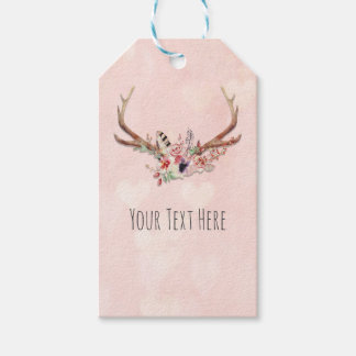Rose Blush Pink Floral Deer Antlers Boho Chic