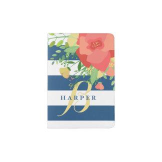 Rose Bouquet & Blue Stripes Monogram Passport Holder