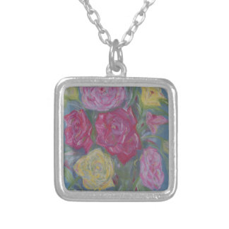 Rose Bouquet Silver Plated Necklace