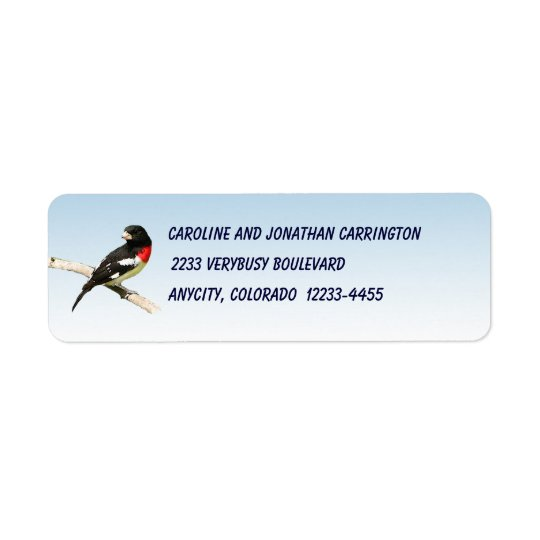 Rose-breasted Grosbeak Return Address Label