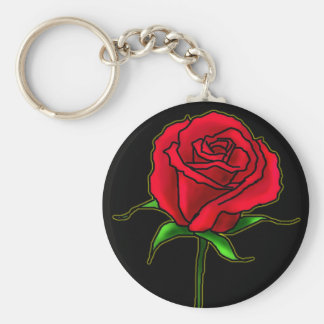 Rose bud basic round button key ring