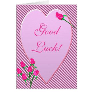 Rose Bud Heart Good Luck Card