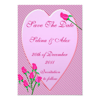 "Rose Bud Heart Save the Date 5"" X 7"" Invitation Card"