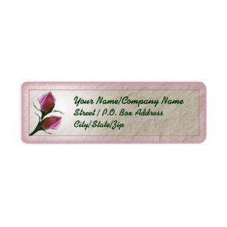 Rose Bud Label Return Address Label