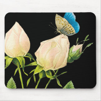 Rose Buds Butterfly Mouse Pads