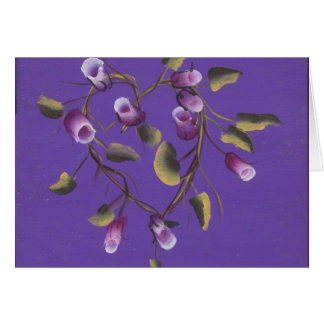 ROSE BUDS ON HEART VINE GREETING CARD