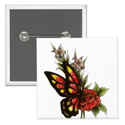 Rose Butterfly Pinback Buttons