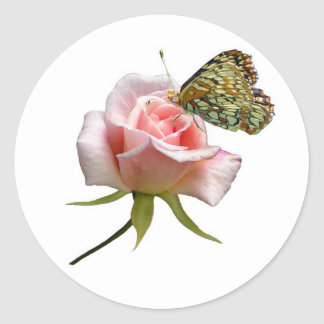 Rose Butterfly Classic Round Sticker