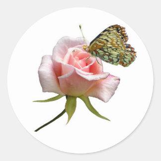 Rose Butterfly Round Sticker