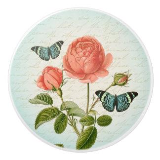 Rose & butterfly vintage floral ceramic knob