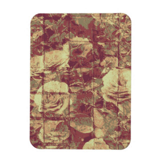 Rose camouflage pattern on tiled wall background rectangular photo magnet