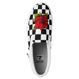 Rose Checkered Shoes Printed Shoes