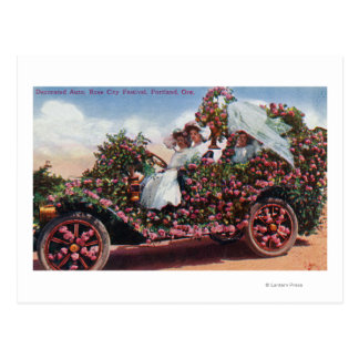 Rose City Festival Decorated Auto with Ladies Postcard