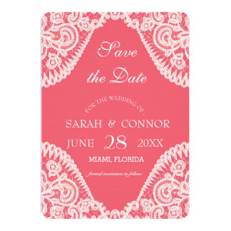 Rose Color Background With Lace Invitation