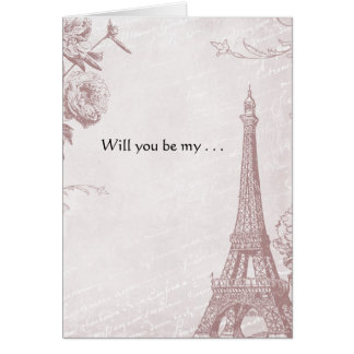 Rose Color Vintage Eiffel Tower Will You Be My Note Card