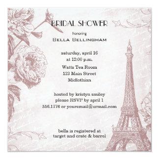 Rose Colored Eiffel Tower Bridal Shower Invitation