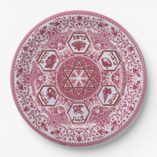 Rose-Colored Passover Seder Paper Plate