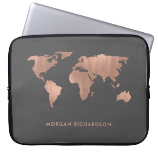 Rose Colored World | Map on Smoky Gray Laptop Sleeve