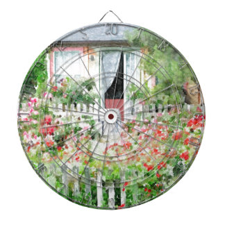 Rose Cottage Dartboard With Darts