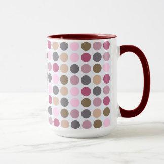 Rose Cream Pink Brown Polka Dot Pattern Mug
