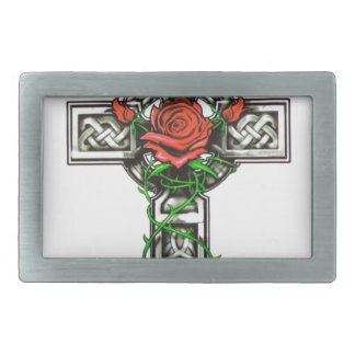 Rose cross tattoo design belt buckles