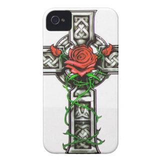 Rose cross tattoo design Case-Mate iPhone 4 cases