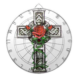 Rose cross tattoo design dartboard