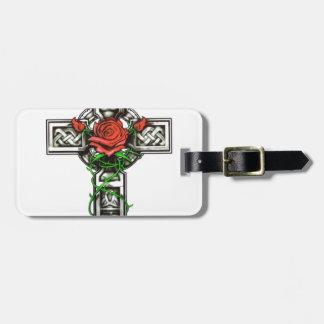 Rose cross tattoo design luggage tag