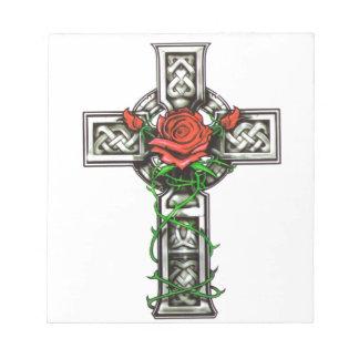 Rose cross tattoo design notepad