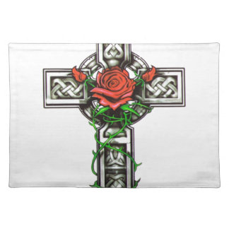 Rose cross tattoo design placemat
