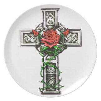Rose cross tattoo design plate