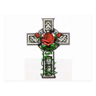 Rose cross tattoo design postcard