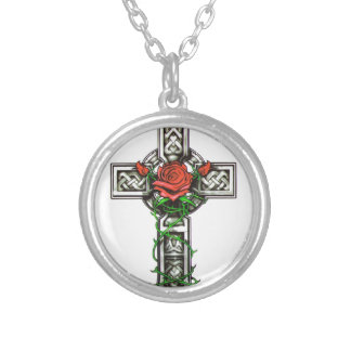 Rose cross tattoo design silver plated necklace