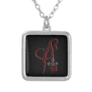 Rose Cross Vampire Monogram A Silver Plated Necklace