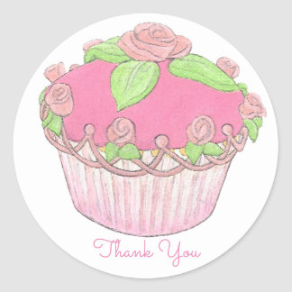 Rose Cupcake Sticker ~ Thank You
