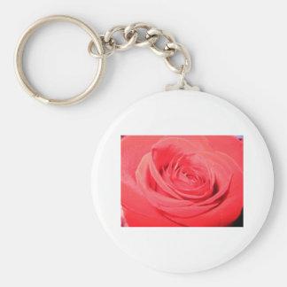 rose,deep pink rose basic round button key ring
